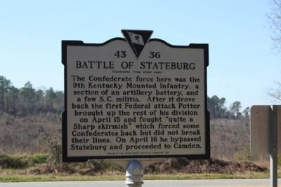 Battle of Stateburg Marker, reverse side image. Click for full size.