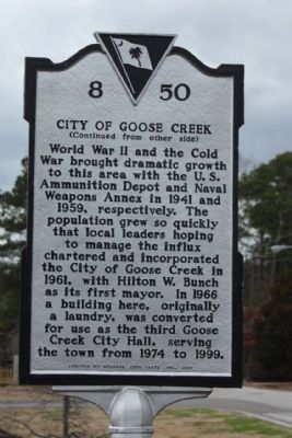 City of Goose Creek side of Marker image. Click for full size.