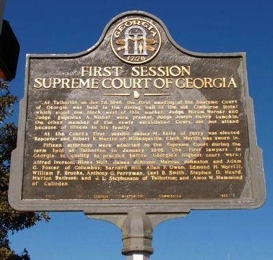 First Session Supreme Court of Georgia Marker image. Click for full size.