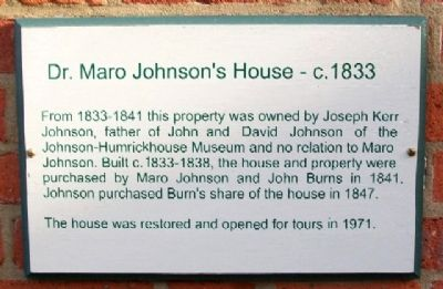 Dr. Maro Johnson's House - c.1833 Marker image. Click for full size.