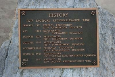History Marker for the 117th Tactical Reconnaissance Wing image. Click for full size.