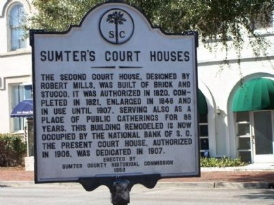 Sumter's Courthouses Marker, reverse side image. Click for full size.