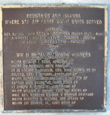 5th Air Force WWII Service and Medals of Honor image. Click for full size.