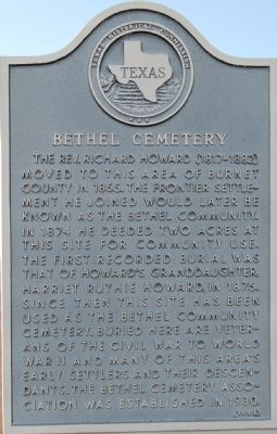 Bethel Cemetery Marker image. Click for full size.