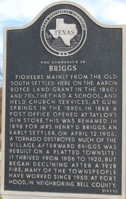 The Community of Briggs Marker image. Click for full size.