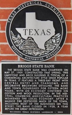 Briggs State Bank Marker image. Click for full size.