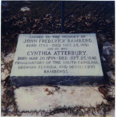 Gravestone of John F. Bamberg and Cynthia Atterbury image. Click for full size.
