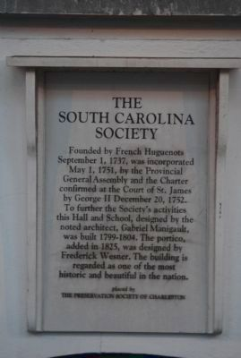 South Carolina Society Marker image. Click for full size.