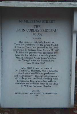John Prioleau House Marker image. Click for full size.