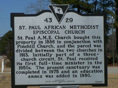 St. Paul African American Methodist Episcopal Church Marker, reverse side image. Click for full size.