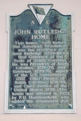 John Rutledge Home Marker image. Click for full size.