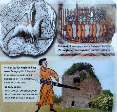 Hugh De Lacy and Castle Ruins on Marker image. Click for full size.