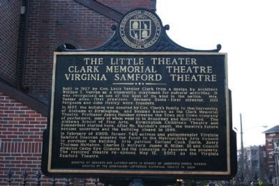 The Little Theater Clark Memorial Theatre Virginia Samford Theatre Marker image. Click for full size.