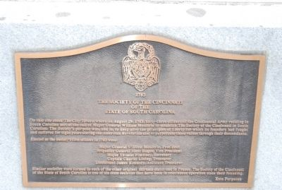 The Society of the Cincinnati of the State of South Carolina Marker image. Click for full size.
