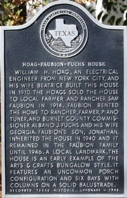 Hoag-Faubion-Fuchs House Marker image. Click for full size.