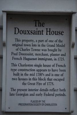 The Douxsaint House Marker image. Click for full size.