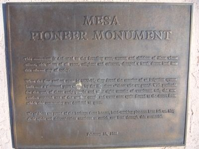 Mesa Pioneer Monument Marker image. Click for full size.
