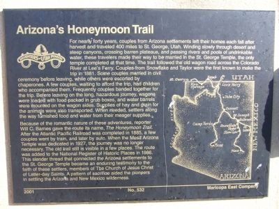 Arizona's Honeymoon Trail Marker image. Click for full size.