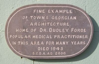 Dr. Dudley Forde House Marker image. Click for full size.