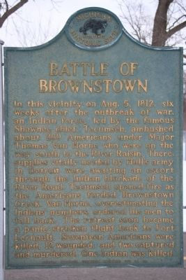 Battle of Brownstown Marker image. Click for full size.