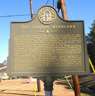 The Fannin Avengers Marker image. Click for full size.