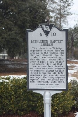 Bethlehem Baptist Church Marker image. Click for full size.