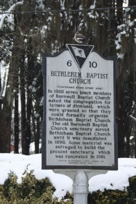 Bethlehem Baptist Church Marker, reverse side image. Click for full size.