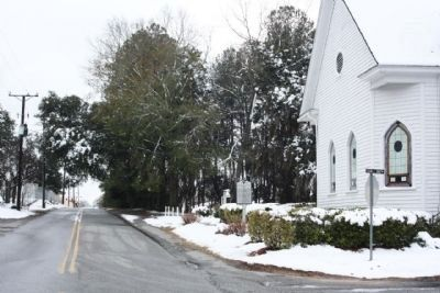 Bethlehem Baptist Church and Marker as seen along Wall Street, looking south image. Click for full size.