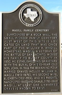 Magill Family Cemetery Marker image. Click for full size.