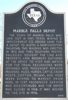 Marble Falls Depot Marker image. Click for full size.