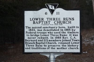 Lower Three Runs Baptist Church Marker, reverse side image. Click for full size.