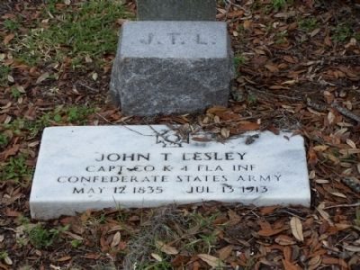 Oaklawn Cemetery John T. Lesley Capt. Co. K 4th Fla. Inf., CSA image. Click for full size.