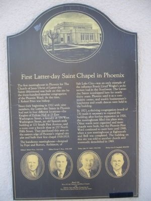 First Latter-day Saint Chapel in Phoenix Marker image. Click for full size.