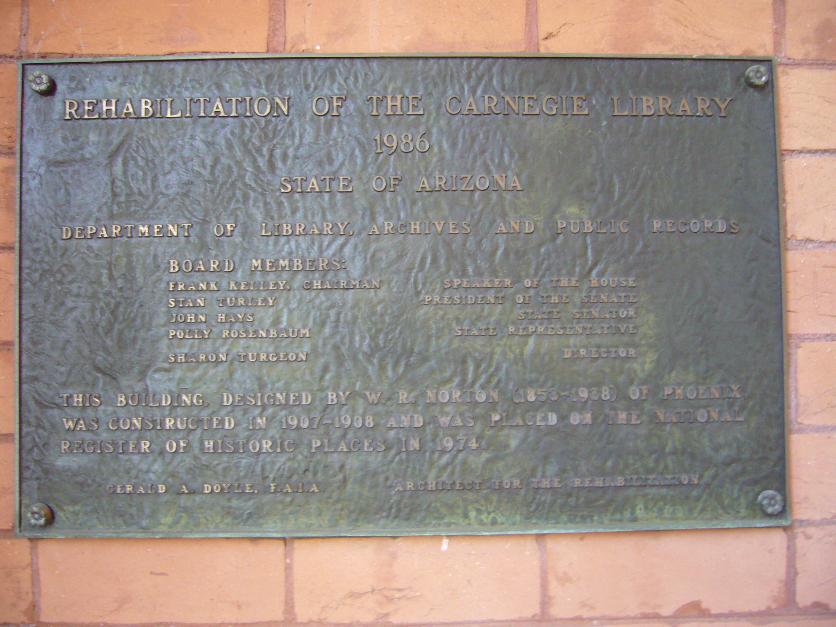 Rehabilitation of the Carnegie Library Marker