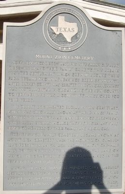 Mount Zion Cemetery Marker image. Click for full size.
