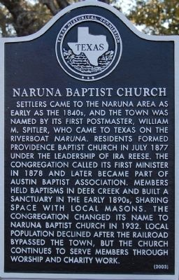 Naruna Baptist Church Marker image. Click for full size.