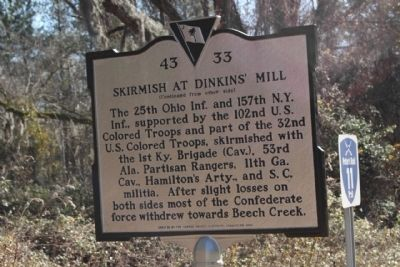 Skirmish at Dinkins' Mill Marker, reverse side image. Click for full size.