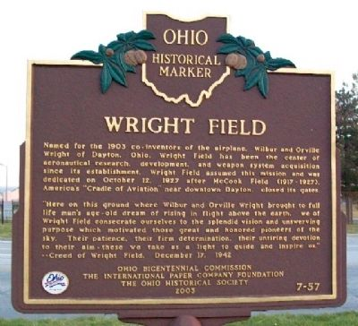 Wright Field Marker image. Click for full size.