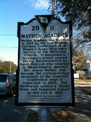 Mather Academy Marker (front) image. Click for full size.