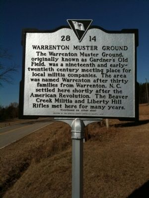 Warrenton Muster Ground Marker (front) image. Click for full size.
