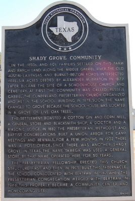 Shady Grove Community Marker image. Click for full size.