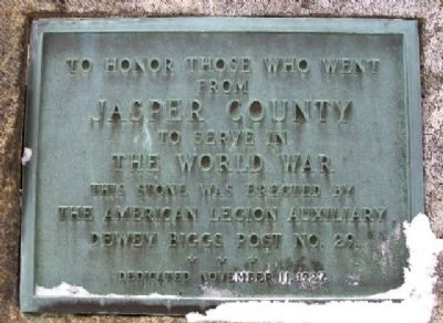 Jasper County World War Memorial Marker image. Click for full size.