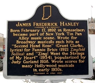 James Frederick Hanley Marker (Side A) image. Click for full size.