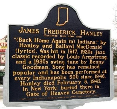 James Frederick Hanley Marker (Side B) image. Click for full size.