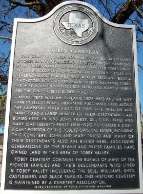 Tobey Cemetery Marker image. Click for full size.