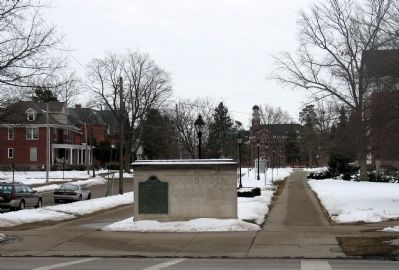 Albion College Marker with view of campus behind. image. Click for full size.