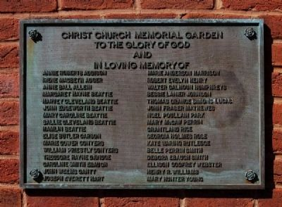 Christ Church (Episcopal) Memorial Garden Plaque image. Click for full size.