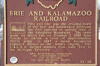 Erie and Kalamazoo Railroad Marker image. Click for full size.
