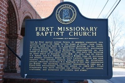 First Missionary Baptist Church Marker image. Click for full size.