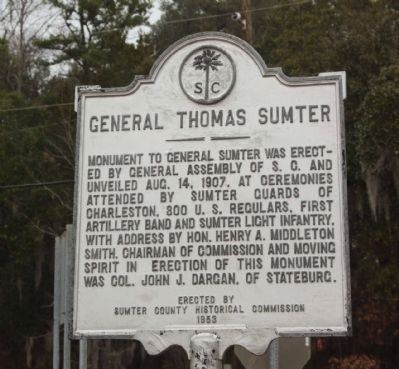 General Thomas Sumter Marker, reverse side image. Click for full size.